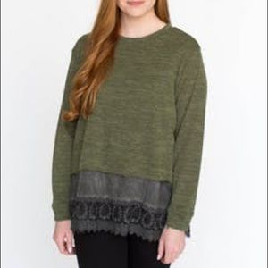 Pullover olive two tone